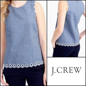 J CREW Chambray Scalloped Top w/ Grommet Detail!
